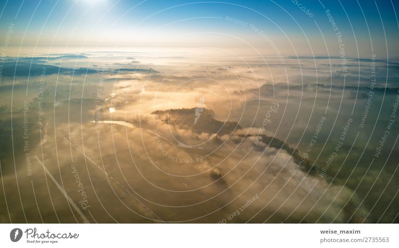 Aerial view of morning foggy sunrise and rural fields Lifestyle Beautiful Vacation & Travel Summer Sports Environment Nature Landscape Sky Clouds Horizon Autumn