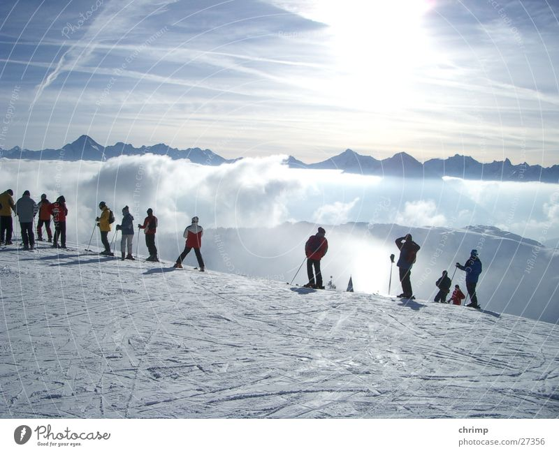 sea of fog Fog Skiing Mountain Sun Snow Bright Sky