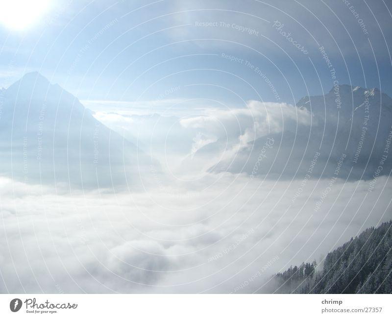 Sky Sun Clouds Mountain