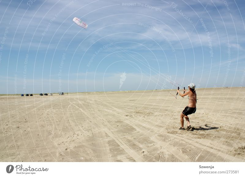 Sky Youth (Young adults) Vacation & Travel Summer Sun Beach Feminine Sports Young woman Power Wind Flying Leisure and hobbies Walking Tall To hold on