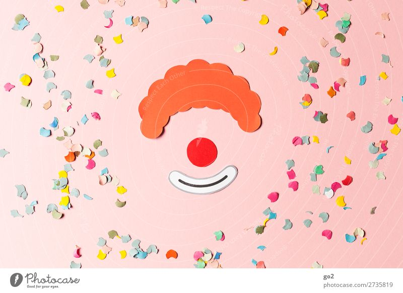 Clown and confetti Joy Leisure and hobbies Handicraft Feasts & Celebrations Carnival Paper Decoration Confetti Sign Happiness Funny Multicoloured Emotions
