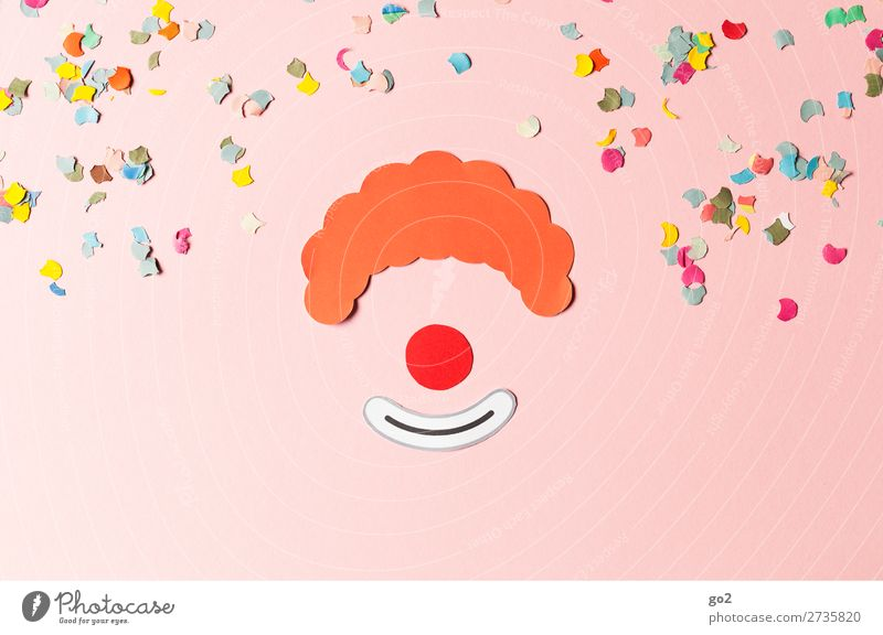 Clown and confetti Leisure and hobbies Handicraft Feasts & Celebrations Carnival Hair and hairstyles Red-haired Paper Decoration Confetti Sign Smiling Laughter