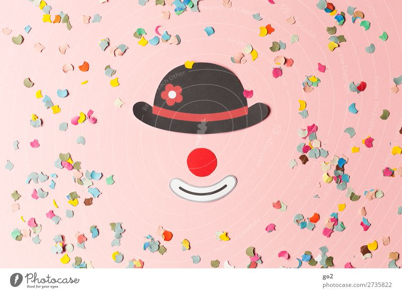 Clown and confetti Feasts & Celebrations Carnival Nose Hat Decoration Confetti Happiness Funny Multicoloured Emotions Joy Enthusiasm Joie de vivre (Vitality)
