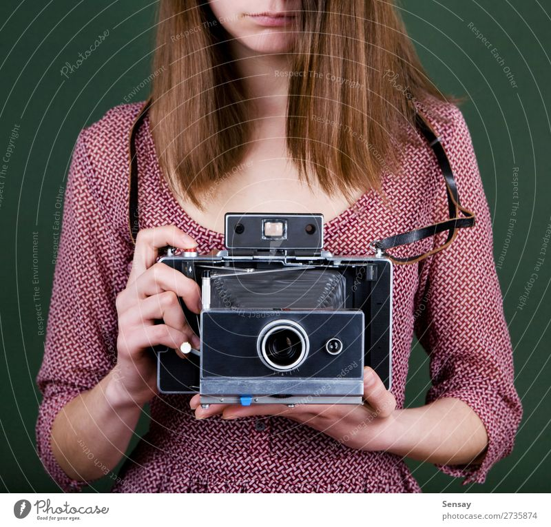 vintage camera Style Beautiful Camera Human being Woman Adults Hand Fashion Old Retro Green White Colour Photography Photographer Hold Lens girl Take a photo