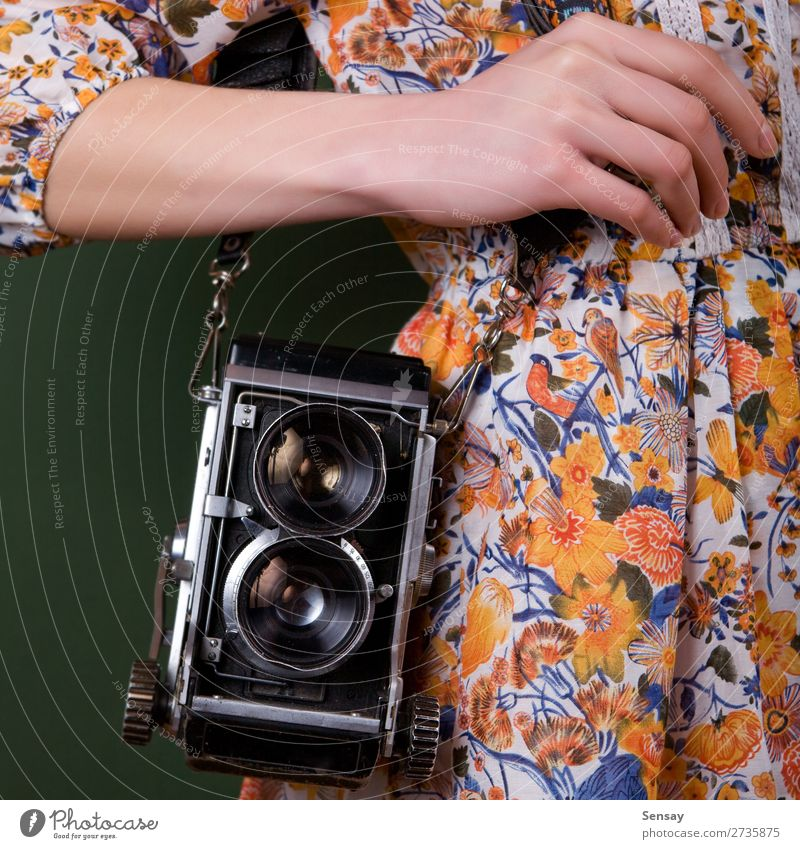 Vintage camera Style Beautiful Camera Human being Woman Adults Hand Fashion Old Retro Green White Colour vintage Photography Photographer Hold Lens girl