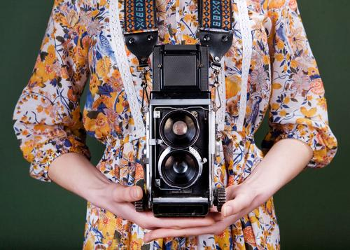 Vintage camera Woman Human being Old Colour Beautiful Green White Red Hand Flower Adults Style Fashion Retro Photography Dress