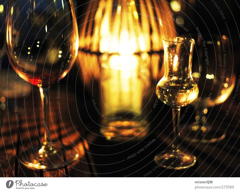 Summer night. Lifestyle Esthetic Style Grappa Grappa glass Wine Wine glass Wine cellar Candlelight Moody Cozy Glass Gastronomy Alcoholic drinks Alcoholism
