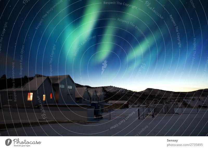 aurora borealis Meditation Winter Snow Mountain House (Residential Structure) Nature Landscape Sky Tree Wood Natural Blue Green Aurora northern greenland Alaska