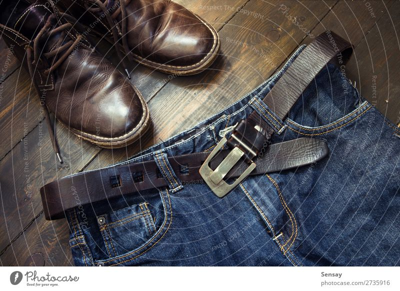 Jeans belt and shoes set on wood Style Vacation & Travel Man Adults Fashion Clothing Leather Footwear Boots Old Retro Blue Brown Black Denim Conceptual design