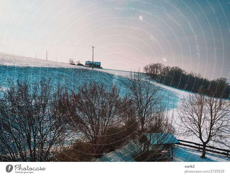 High House Environment Nature Landscape Plant Cloudless sky Horizon Sun Winter Ice Frost Snow Tree Grass Bushes Meadow Forest Hill Thuringia Germany