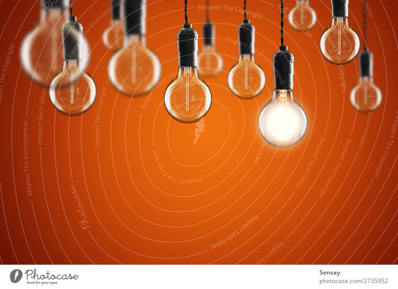 Idea and leadership concept Vintage incandescent Old Colour Red Yellow Copy Space Lamp Design Bright Technology Success Creativity Energy Symbols and metaphors