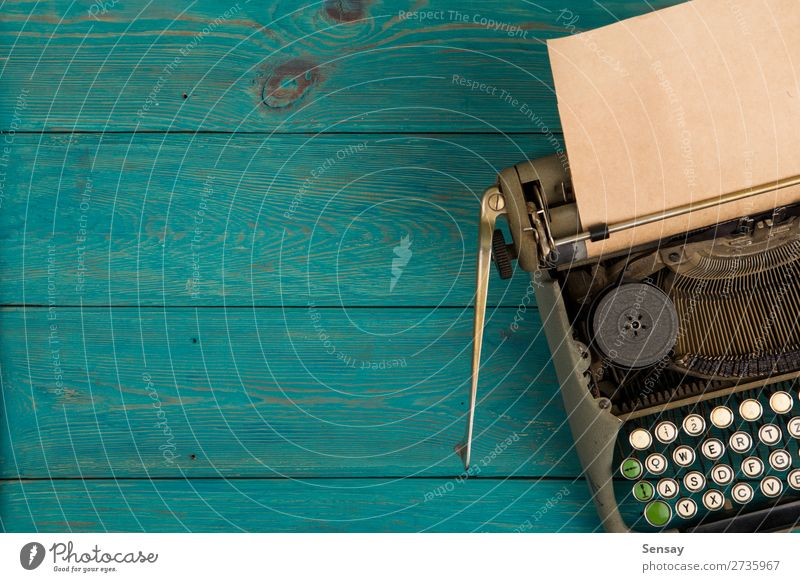 typewriter on the blue wooden desk Old Blue Green Wood Style Office Retro Table Book Paper Write Tracks Story Communication Classic Object photography