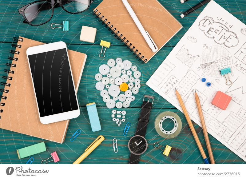 Idea concept - phone, watch, notepads etc Reading Desk Workplace Office Financial Industry Business Telephone PDA Computer Screen Technology Pen Observe Blue