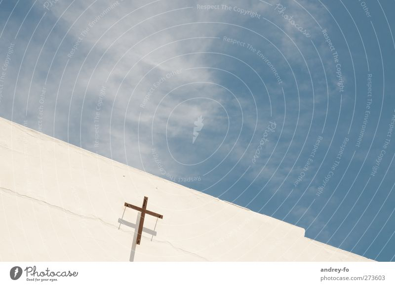 ..about God and heaven Religion and faith Sky Church Wall (barrier) Wall (building) Facade Concrete Crucifix Infinity Bright Clean Blue White Emotions Optimism