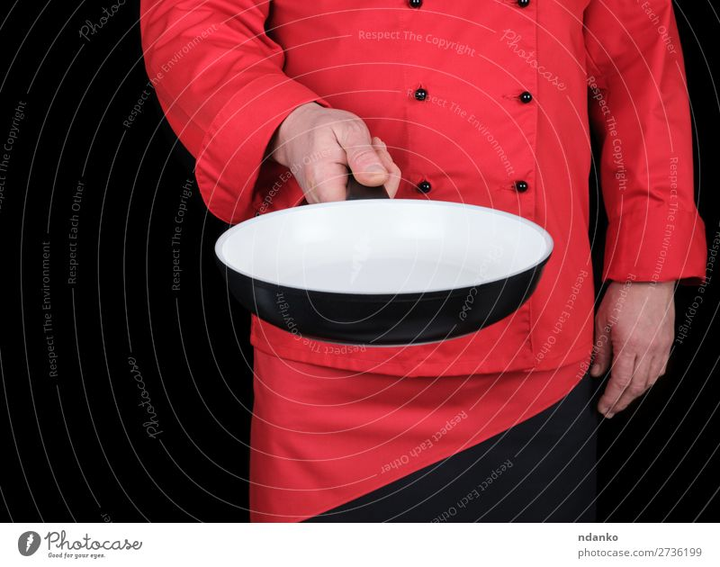 cook holding an empty round white frying pan Pan Kitchen Restaurant Work and employment Profession Cook Human being Man Adults Hand Clothing Stand Red Black