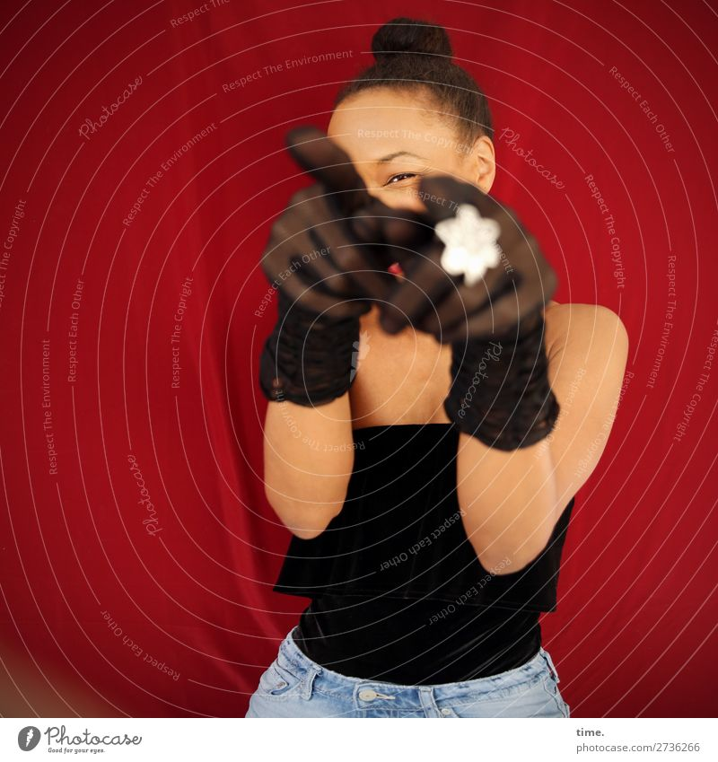 you got it! Feminine Woman Adults 1 Human being Actor Shirt Jeans Cloth Jewellery Gloves Black-haired Observe To hold on Laughter Looking Happiness Astute