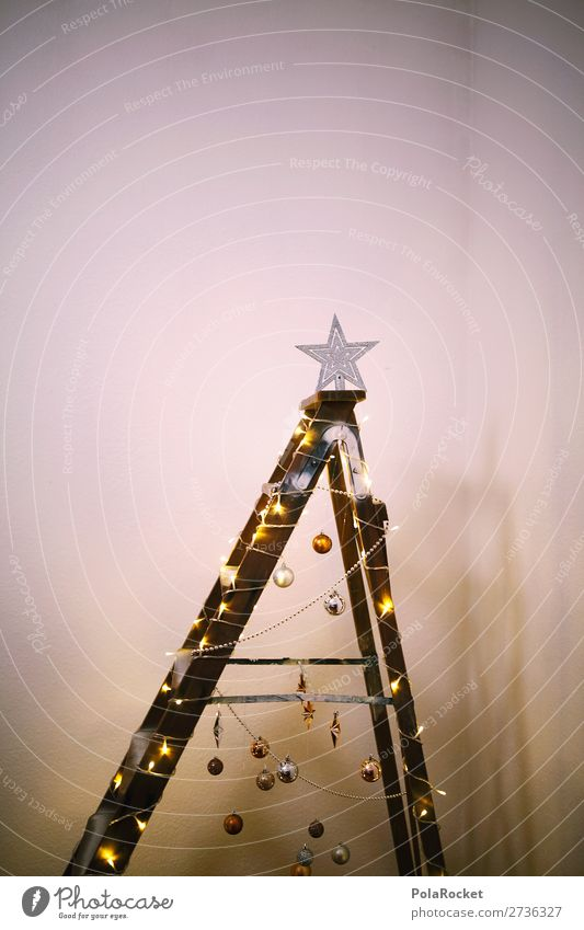 Christmas & Advent Anti-Christmas Wall (building) Feasts & Celebrations Art Exceptional Moody Esthetic Creativity Poverty Idea Christmas tree Living room Ladder