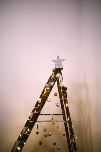 #A# Makeshift Christmas Art Work of art Esthetic Christmas & Advent Anti-Christmas Christmas tree Top of the Christmas tree Thrifty Minimalistic Ladder