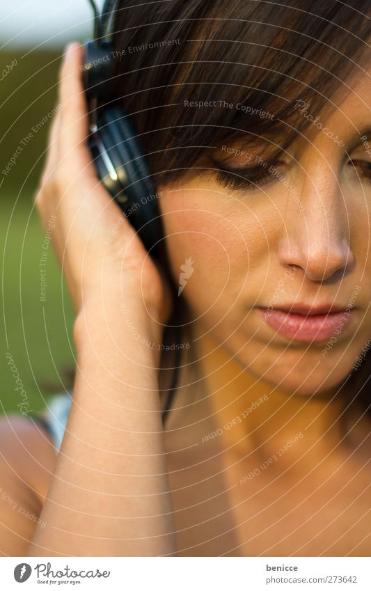 Human being Woman Summer Sadness Young woman Music To hold on To enjoy Listening European Headphones Earnest Dark-haired
