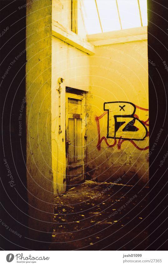 lonely door Factory Light Architecture Door cross Old Graffiti