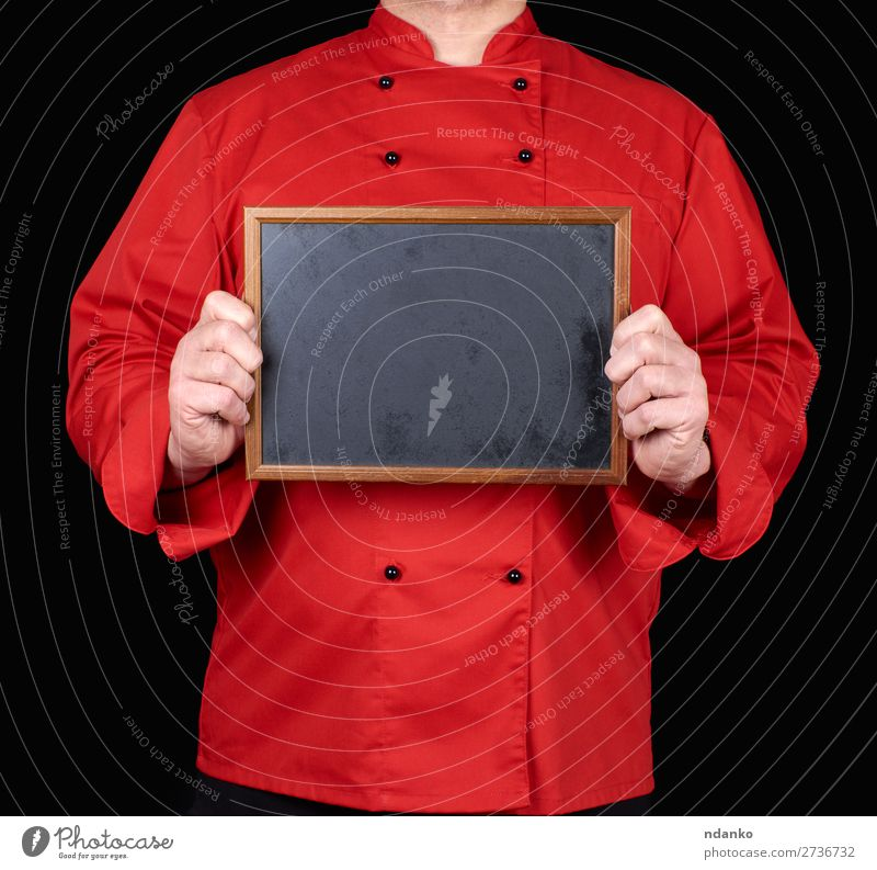 chef in red uniform holding an empty wooden frame Kitchen Restaurant Blackboard Work and employment Profession Cook Human being Man Adults Hand Clothing Shirt