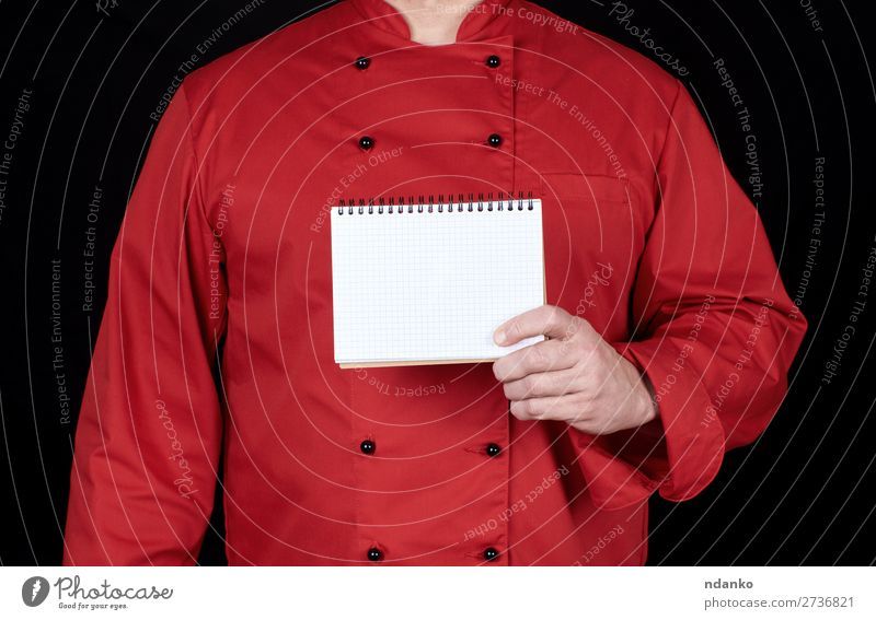 chef in red uniform holding a blank notebook Kitchen Work and employment Profession Cook Human being Man Adults Hand Clothing Shirt Suit Jacket Paper Write Dark