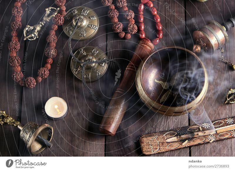 Tibetan religious objects for meditation Medical treatment Alternative medicine Medication Harmonious Relaxation Meditation Table Tool Candle Stone Wood Metal