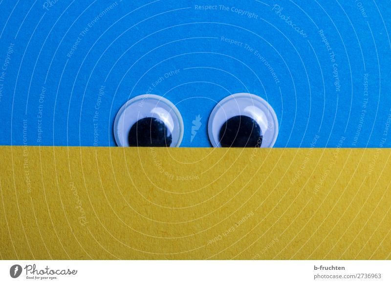 take a look Eyes Paper Sign Observe Looking Friendliness Curiosity Positive Blue Yellow Anticipation wobbly eyes In pairs Voyeurism Surveillance Colour photo