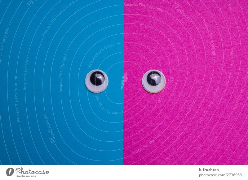 Wobbly eyes on pink and blue background Masculine Feminine Androgynous Woman Adults Man Eyes Paper Looking Blue Pink Contentment Equal Identity wobbly eyes