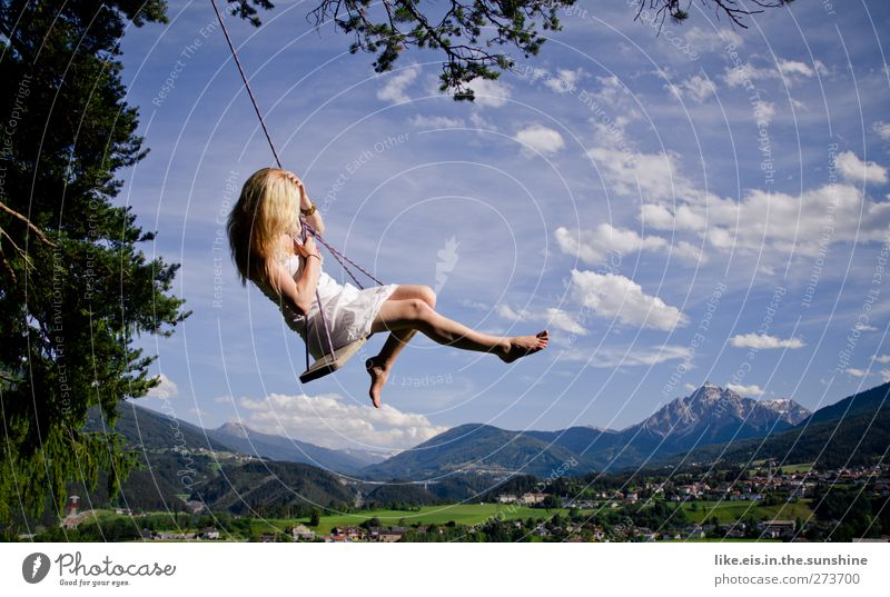 Woman Nature Youth (Young adults) Beautiful Summer Joy Adults Landscape Feminine Mountain Life Happy Young woman Dream Blonde Happiness