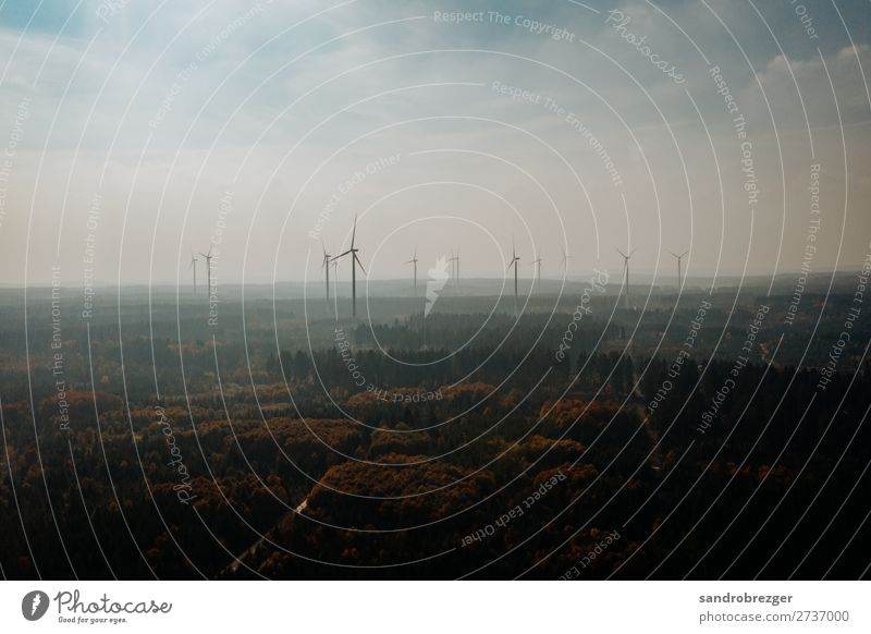 Windmills in a haze Pinwheel windmills Forest Autumn Energy eco-power Sustainability Ecological warm Haze Sky