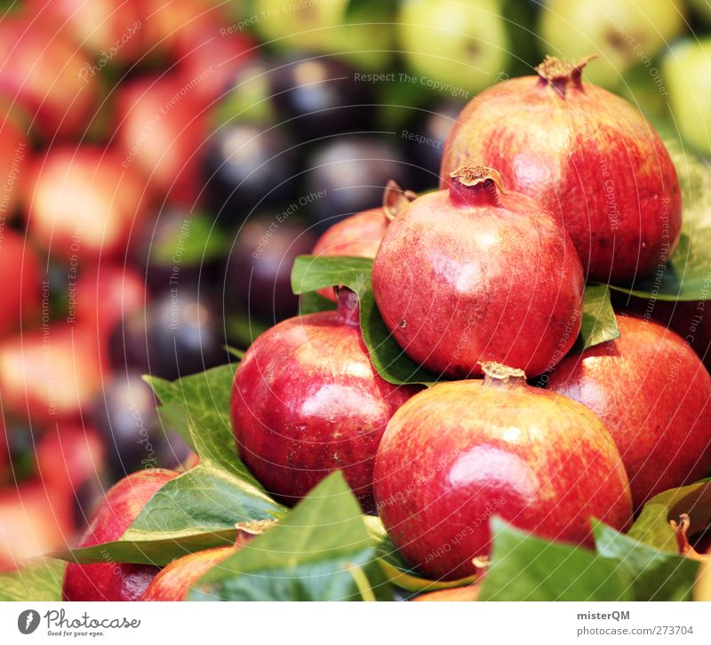 Red Summer Food Contentment Esthetic Healthy Eating Harvest Markets Stack Marketplace Selection Near and Middle East Vitamin-rich Market stall Pomegranate