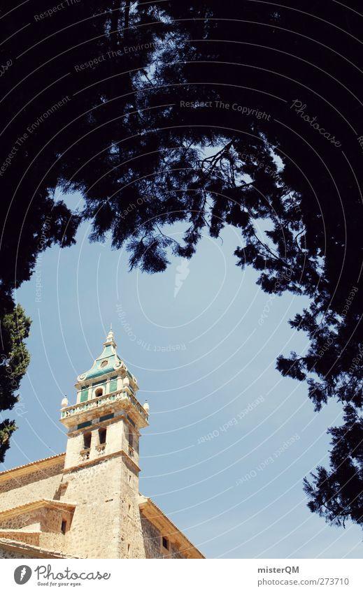 Symbol of Valldemossa. Art Esthetic Spain Religion and faith Monastery Hedge Monastery garden Landmark Tower Spire Majorca Colour photo Subdued colour