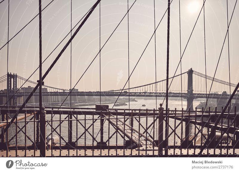 Manhattan Bridge seen from Brooklyn Bridge, NYC. Sun Far-off places Architecture Building Retro Vantage point USA Tourist Attraction Landmark City trip Serene