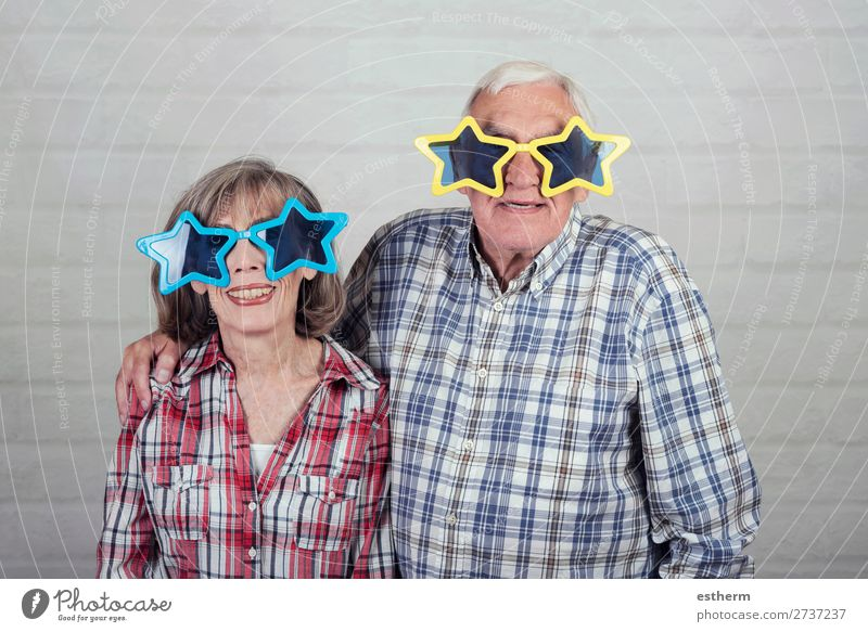 funny grandparents with big star glasses Woman Human being Man Old Joy Lifestyle Love Senior citizen Funny Happy Feasts & Celebrations Together