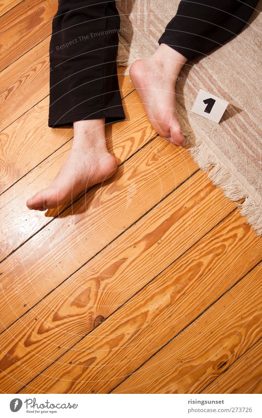 crime scene Carpet Rug fringe Floorboards Hallway Masculine Man Adults Legs Feet 1 Human being 45 - 60 years Pants Signs and labeling Lie Sadness Threat Gloomy
