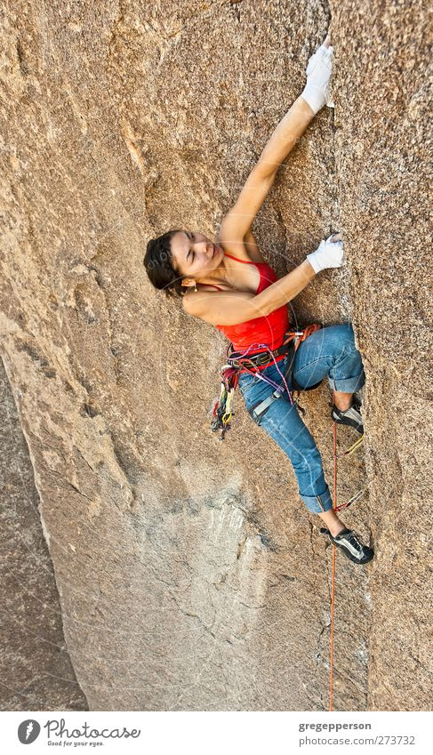 Female rock climber. Human being Woman Youth (Young adults) Adults Feminine Life Power 18 - 30 years Success Adventure Rope Uniqueness Climbing Brave Balance