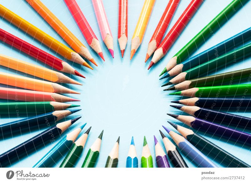 Teamwork concept. group of color pencil on blue background Success Business Career Clouds Together Red Black White Self-confident Trust Responsibility Respect