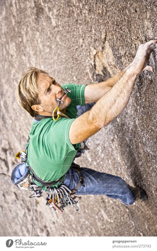 Male rock climber. Human being Man Adults Relaxation Rock Power Masculine Success Adventure Rope Peak To hold on Climbing Trust Brave Balance