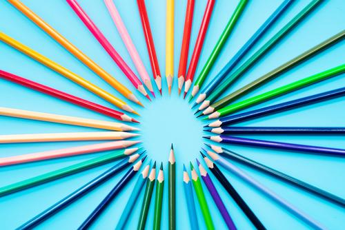 Idea sharing concept, multicolored pencils on blue background Child Colour White Business Art School Group Work and employment Office Leisure and hobbies