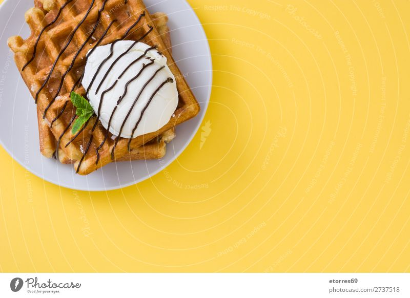 Breakfast belgian with waffles with ice Waffle Dessert Ice cream Belgian Belgium White Yellow Sweet Candy Food Healthy Eating Food photograph Neutral Background