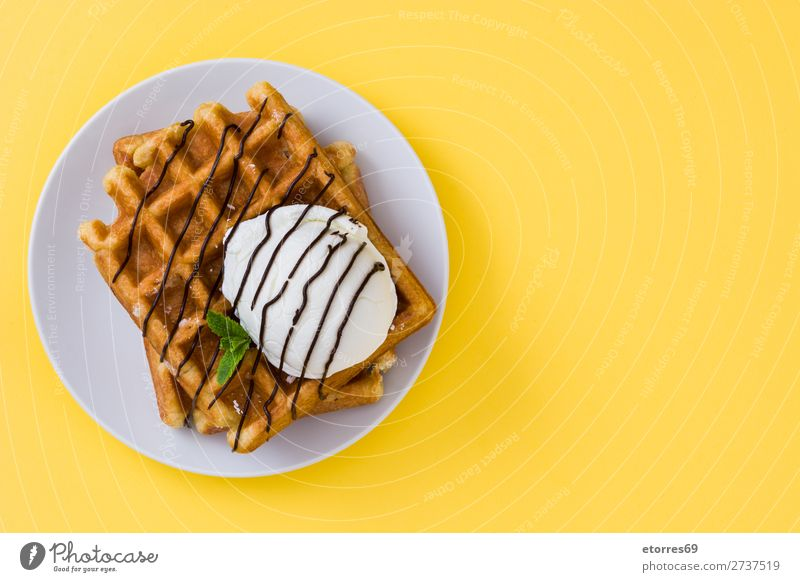 Breakfast belgian with waffles with ice Waffle Dessert Ice cream Belgian Belgium White Yellow Sweet Food Healthy Eating Food photograph Neutral Background Mint