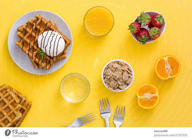Breakfast belgian with waffles with ice pattern Waffle Dessert Ice cream Belgian Belgium White Yellow Candy Food Healthy Eating Food photograph