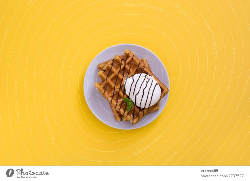 Waffle with chocolate sauce, ice cream and mint Dessert Ice cream Belgian Belgium White Sweet Food Healthy Eating Food photograph background Breakfast wafer