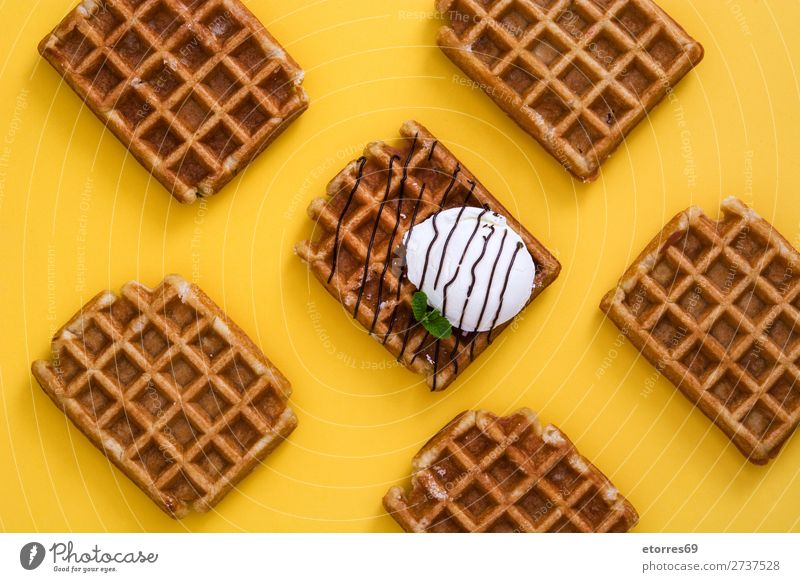Breakfast belgian with waffles with ice pattern Waffle Dessert Ice cream Belgian Belgium White Yellow Sweet Food Healthy Eating Food photograph