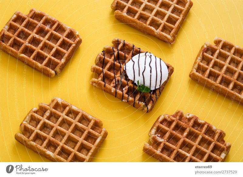 Waffles with chocolate sauce, ice cream and mint Dessert Ice cream Belgian Belgium White Sweet Food Healthy Eating Food photograph background Breakfast wafer
