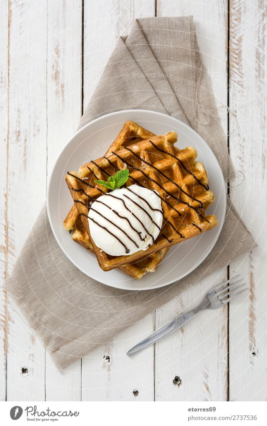 Breakfast belgian with waffles with ice on white wooden table. Waffle Dessert Ice cream Belgian Belgium White Yellow Sweet Candy Food Healthy Eating