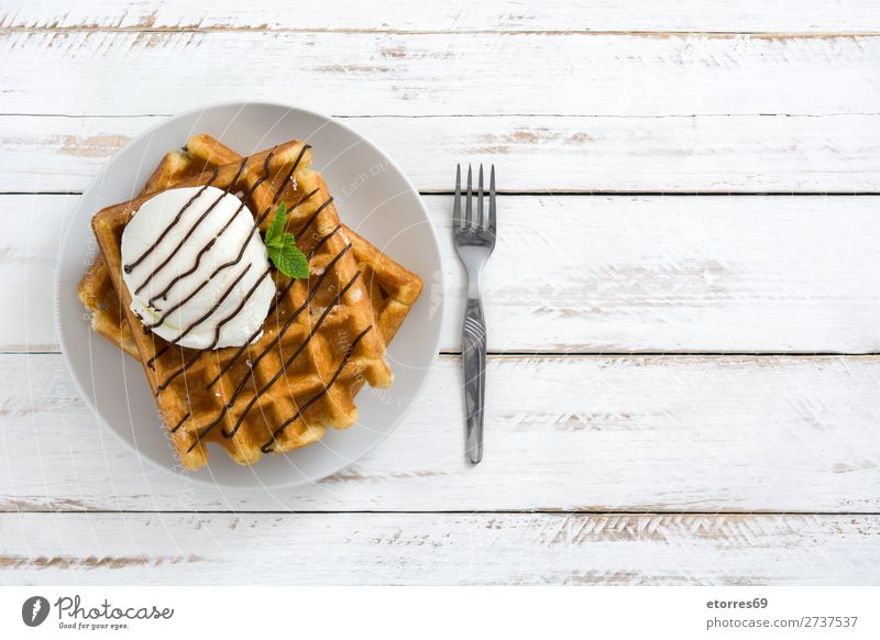 Breakfast belgian with waffles with ice on white wooden table Waffle Dessert Ice cream Belgian Belgium White Yellow Sweet Candy Food Healthy Eating