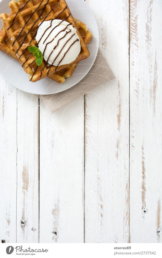 Breakfast belgian with waffles with ice cream Waffle Dessert Ice cream Belgian Belgium White Sweet Candy Food Healthy Eating Food photograph Neutral Background