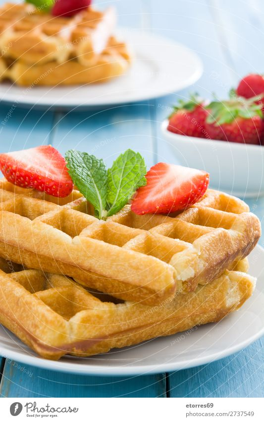 Breakfast belgian with waffles with strawberries and honey Waffle Dessert Belgian Belgium White Sweet Candy Food Healthy Eating Food photograph